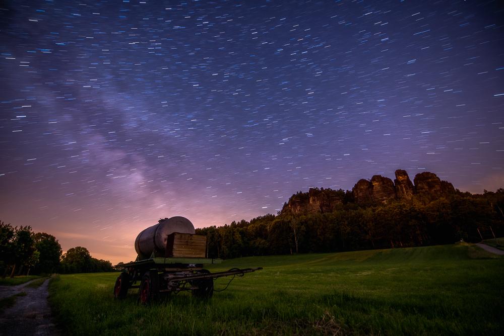Star Trails über den Pfaffensteine